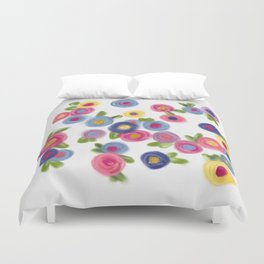 Rose Garden roses cottage colorful flowers and leaves Duvet Cover