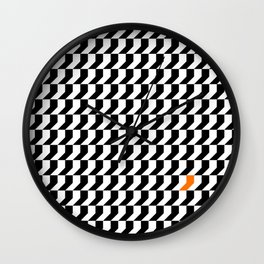 Orange: Black And White Pattern Wall Clock