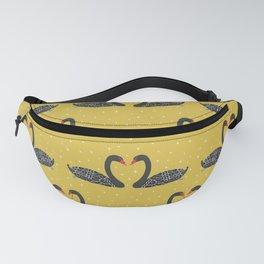 Mustard Yellow Art  Black Swans Fanny Pack
