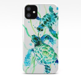 Sea Turtles, Turquoise blue Design iPhone Case