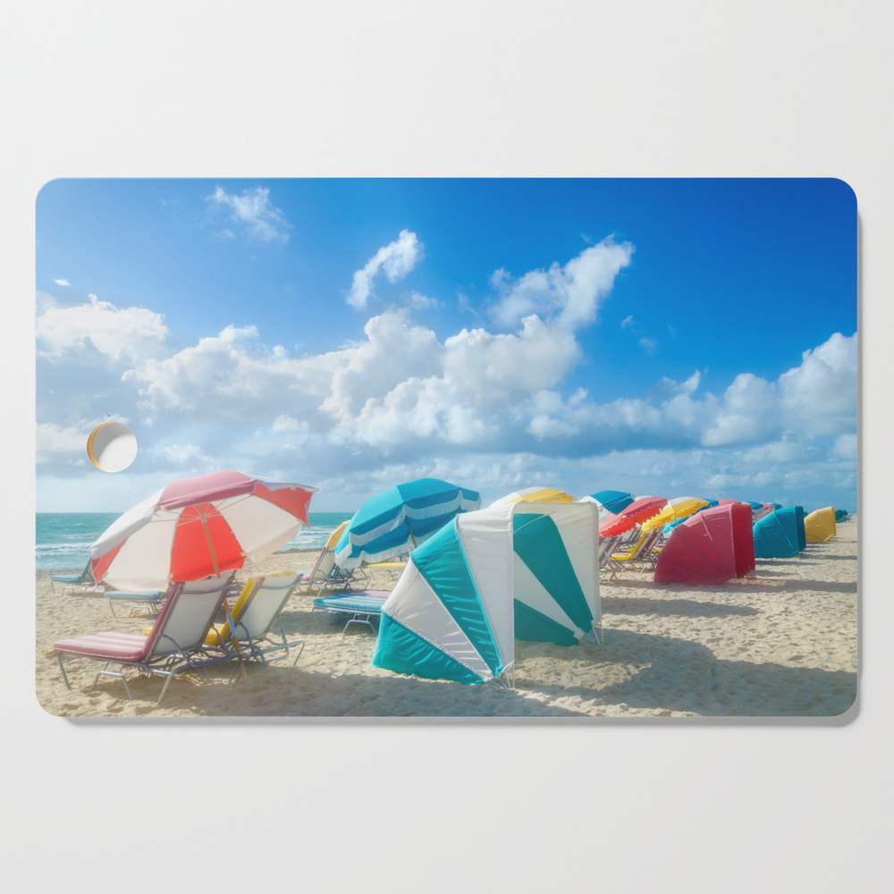 Miami Beach Cabanas And Parasols Cutting Board by ellensmile (DCB6129624) photo