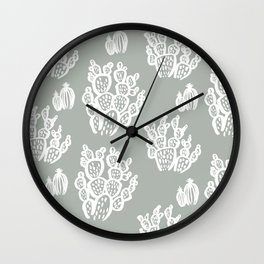 Prickly Pear Green Cacti Wall Clock
