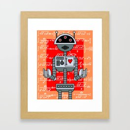 Nerdy Robot Print with math formulas in background Framed Art Print