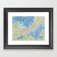 City Map Madison Wisconsin watercolor  Framed Art Print