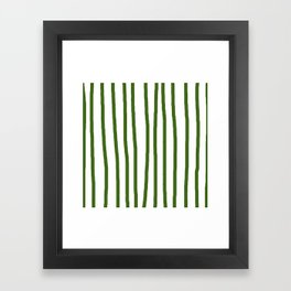 Simply Drawn Vertical Stripes in Jungle Green Framed Art Print