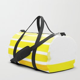 Yellow Midcentury Modern Minimalist Staggered Stripes Rectangle Geometric Pattern Watercolor Art Si Duffle Bag