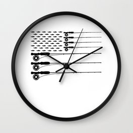 American Flag Fly Fishing Rod Trout Men Wall Clock