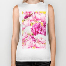 Beauties of nature - large pink flowers on a yellow background Biker Tank