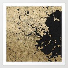 Boston Black and Gold Map Art Print