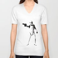 storm trooper V-neck T-shirts featuring Storm Trooper by Christine DeLong Creative Studio