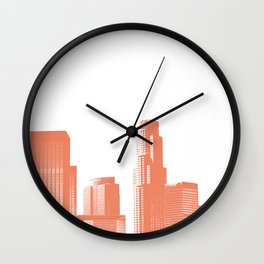 Orange Los Angeles skyline Wall Clock