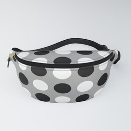 Mid Century Modern Polka Dots 922 Black White and Gray Fanny Pack