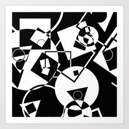Simply Black And white - Abstract, geometric, retro, black and white random pattern Art Print