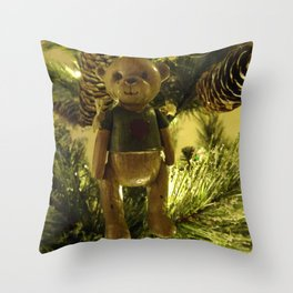 Teddy and Pinecones Throw Pillow
