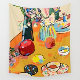 TEA AND FLOWERS AT HOME Wall Tapestry