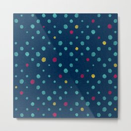 LOTS OF DOTS / prussian blue / turquoise green / deep red / yellow Metal Print