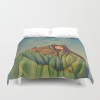 hallion Duvet Covers featuring Volcano Love by Karen Hallion Illustrations