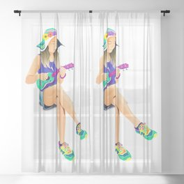 The girl from Saturn by #Bizzartino Sheer Curtain
