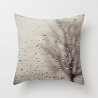rain Throw Pillows featuring Rain  by Laura Ruth