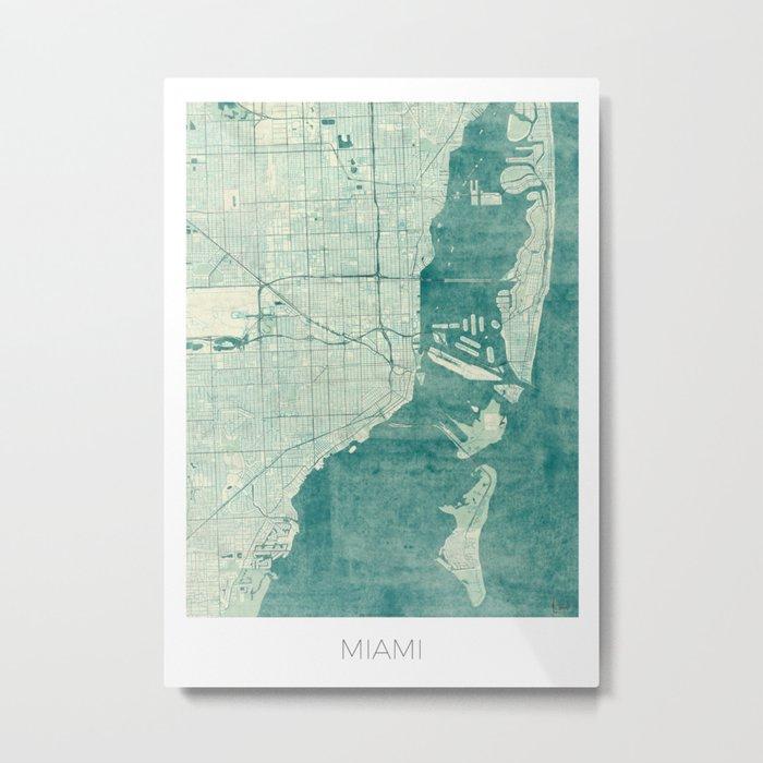 Miami Map Blue Vintage Metal Print