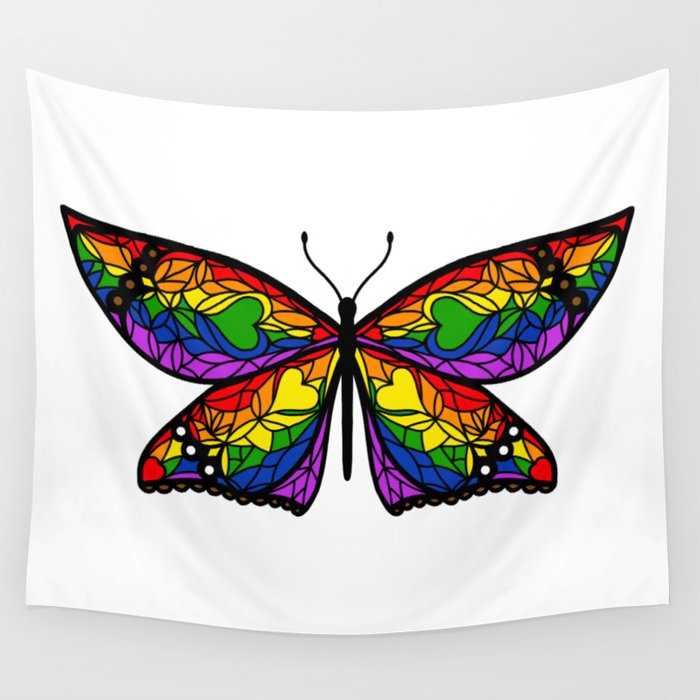 Fly With Pride: LGBTQ Flag Butterfly Wall Tapestry