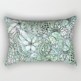 Spring Turquoise green floral hand drawn illustration pattern grey watercolor Rectangular Pillow