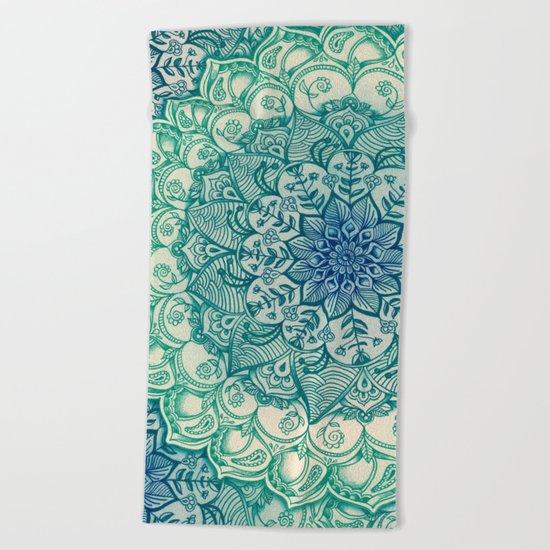 Emerald Doodle Beach Towel