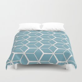 Sea Foam Blue Geometric Pattern Duvet Cover