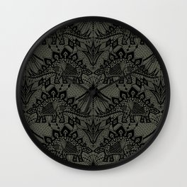 Stegosaurus Lace - Black / Grey - Wall Clock