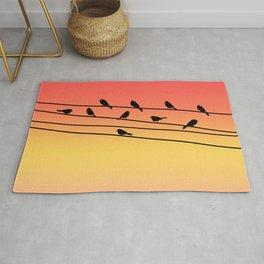 Birds on Power Lines Pink Sunset Gradient Rug