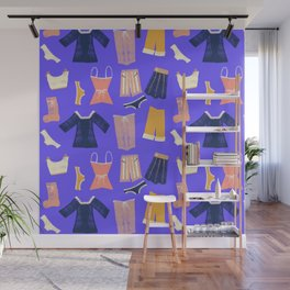 Colorful hanging clothes seamless pattern. Creative and modern graphic design. Vibrant colors. Wall Mural