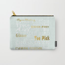 Pastel Blue with Gold Accents Figure Skating Subway Style Typographic Design Carry-All Pouch