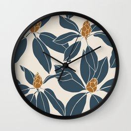 Rhododendrons before the bloom, Navy Leaves Wall Clock