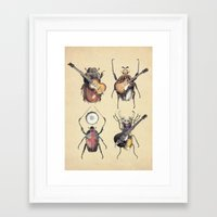 et Framed Art Prints featuring Meet the Beetles by Eric Fan