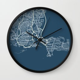 Lagos Blueprint Street Map, Lagos Colour Map Prints Wall Clock