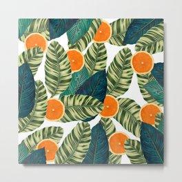 Oranges And Green Leaves Pop Metal Print