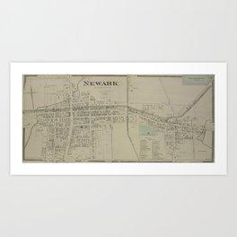 Vintage Map of Newark NY (1874) Art Print
