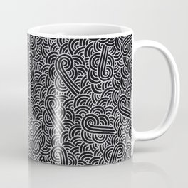 Black and faux silver swirls doodles Coffee Mug
