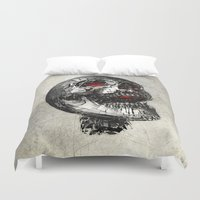 cyberpunk Duvet Covers featuring No Laughing Matter (background option) by Obvious Warrior
