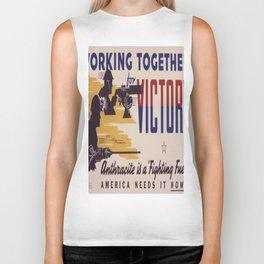 Vintage poster - Working Together for Victory Biker Tank