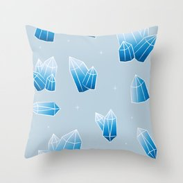 Crystals - Blue Throw Pillow