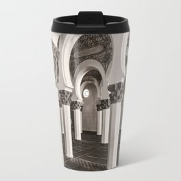 The Historic Arches in the Synagogue of Santa María la Blanca, Toledo Spain (3) Travel Mug