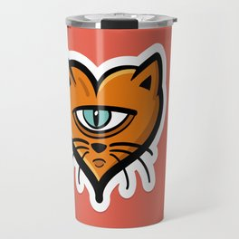 One eye cat heart Travel Mug
