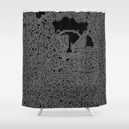 Pixel Maze Shower Curtain