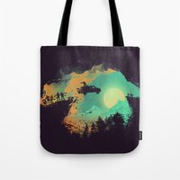 horror Tote Bags featuring Leap of Faith by Picomodi