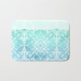 Mermaid's Lace - White Patterned Aqua / Mint Watercolor Wash Bath Mat