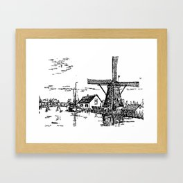 Dutch scene with windmill and house near a canal and freight boat Framed Art Print