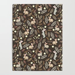 Cute rabbits. Vintage brown pattern Poster