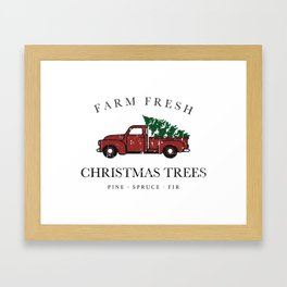 Christmas Tree Farm Vintage Truck Framed Art Print