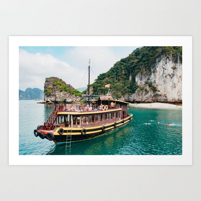 Vietnamese Boat in Halong Bay Art Print